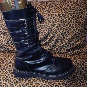 Demonia 3 Strap Goth Punk SteelToe Combat Boots 13